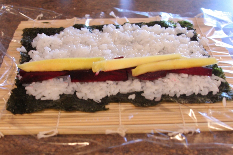 Steamed Beet and Mango Sushi